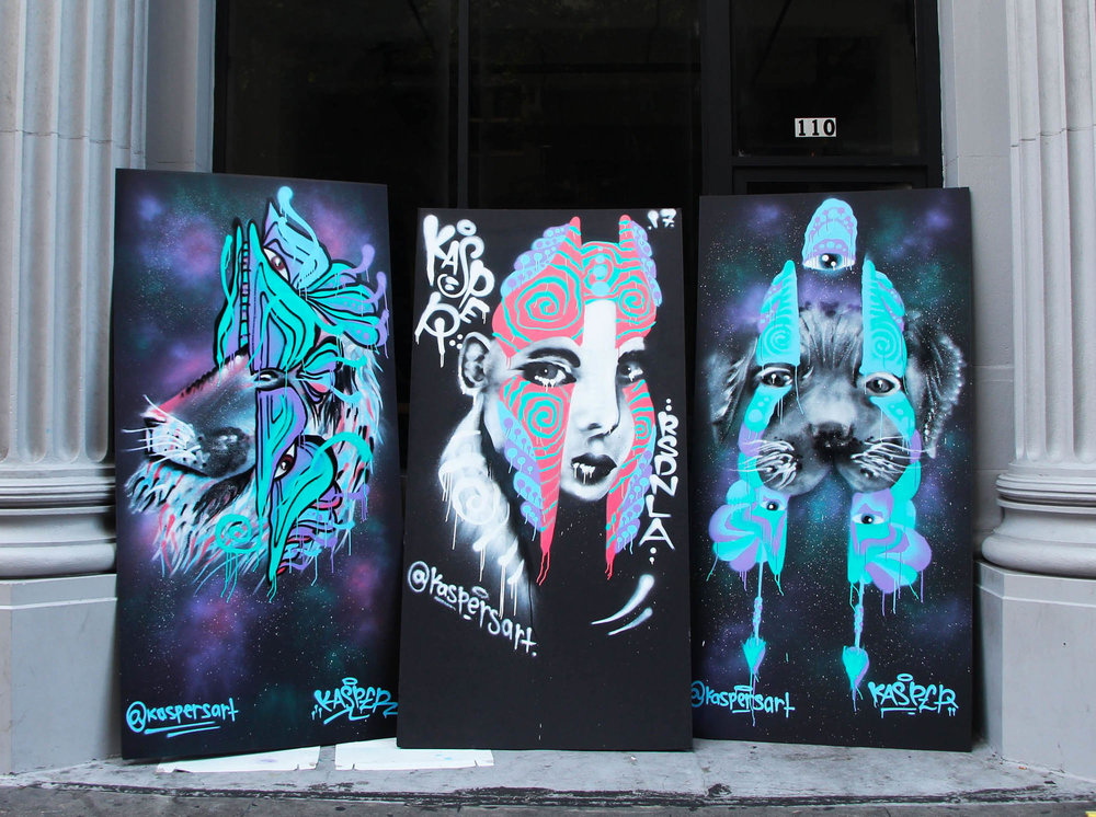 Large scale spray paintings done on the street of Los Angeles for: RSDNLA (Raised in Los Angeles)