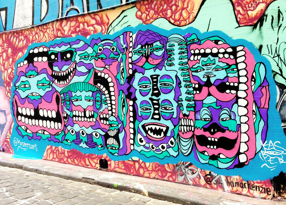 Mural painted in the well known legal location of Hosier Lane in Melbourne Australia