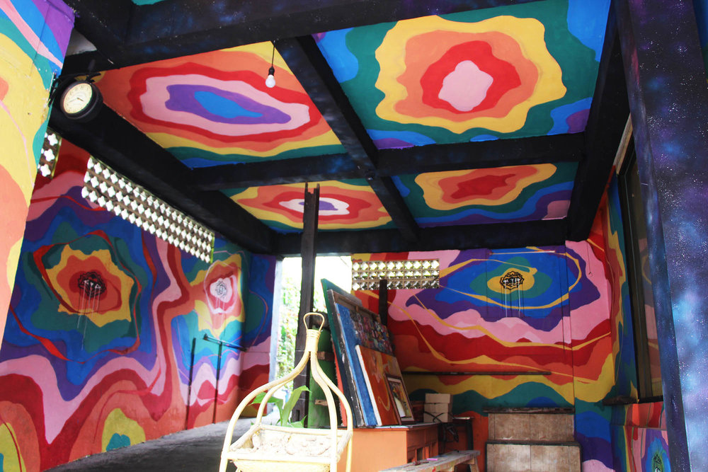 Full room psychedelic mural painted at 9 Angels in Ubud Bali