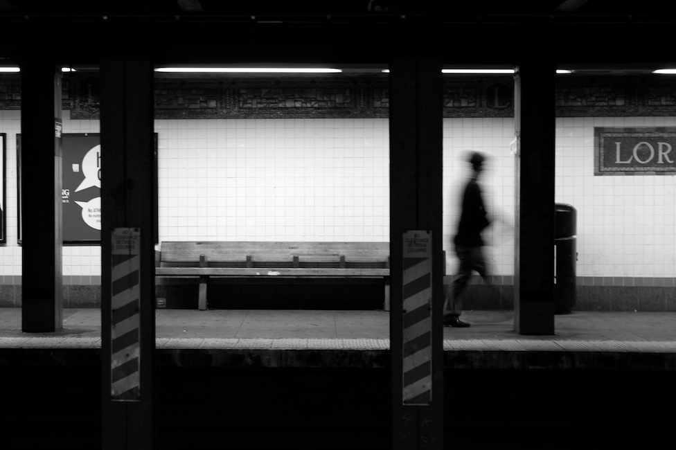 Jan. 11, 2011 - Brooklyn, NY: A commuter exits the L Train at the Lorimer Street station. Photo by Andrew Bisdale.