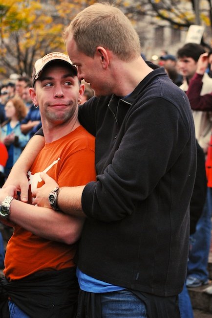 Boston, Mass. - Nov. 15, 2008: A couple embraces at Government center, at the conclusion of a rally protesting the recent passing of Proposition 8 which banned gay marriage in the state of California.