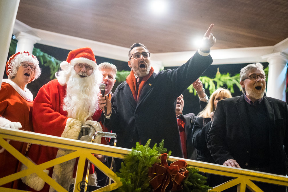 Westwood, NJ - Dec. 2, 2017:  Mayor John Birkner leads a countdown to the annual Christmas tree lighting at the Home For the Holidays celebration.