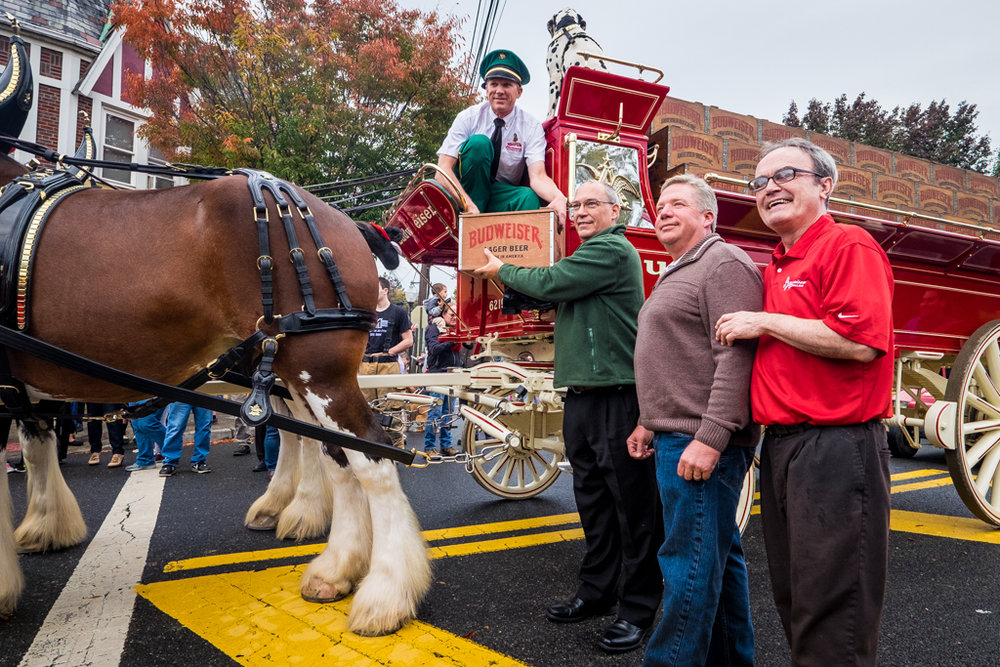 Hillsdale, NJ - Oct. 13, 2016: Budweiser Clydesdales make beer deliveries at several local watering holes, including the Cornerstone Bar and Grill.
