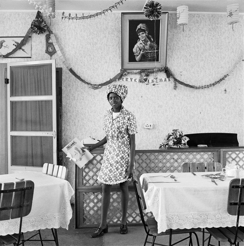 Waitress, Bezuidenhout Park 1973 silver gelatin photograph on fibre - based paper