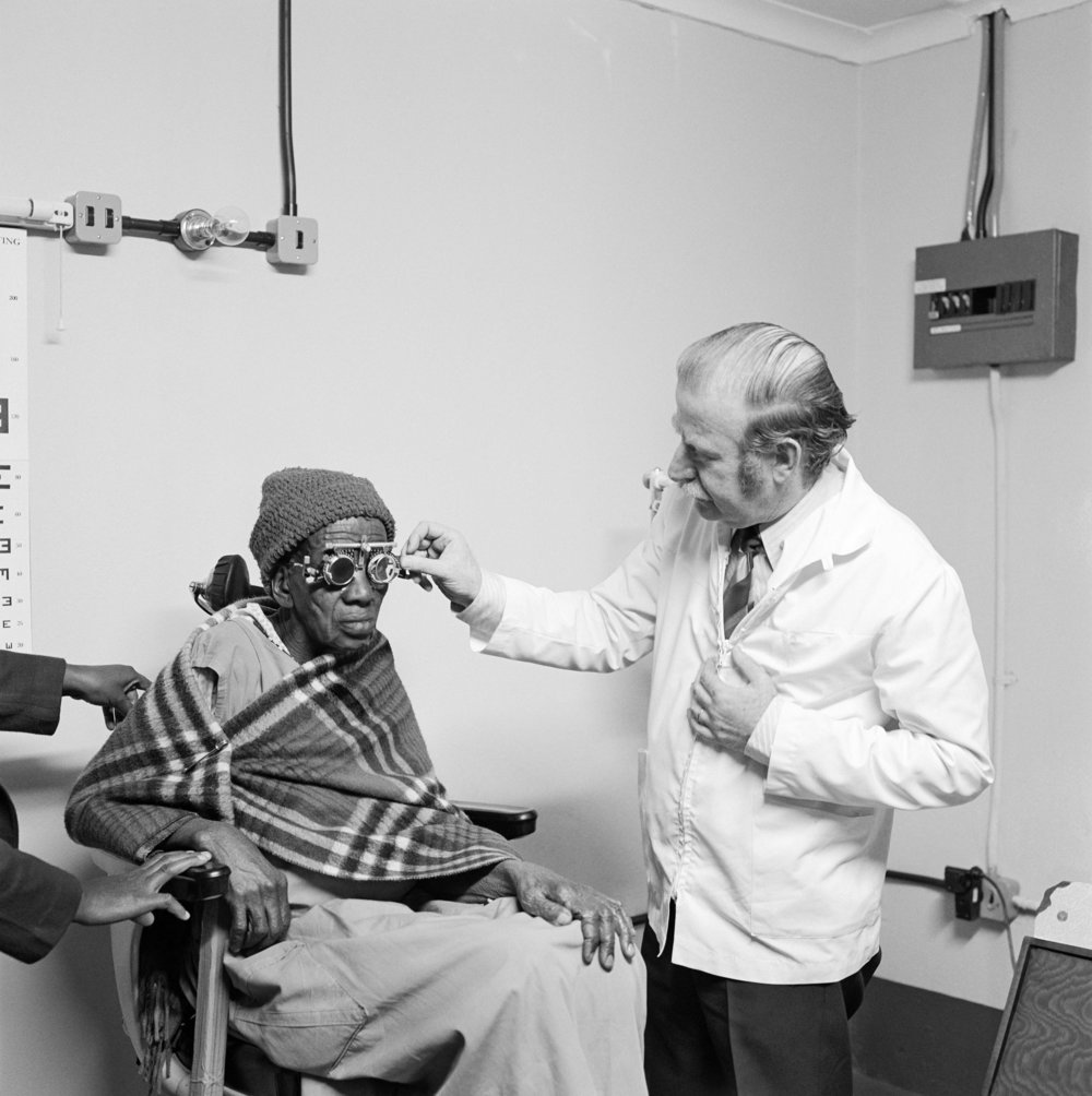 Eyesight testing at the Vosloosrus Eye Clinic of the Boksburg Lions Club 1980