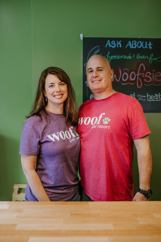 Meet the Owners - Meet Jon + Shana Piuze — classic husband/wife duo and Owner/Operators of Woof Pet Resort.