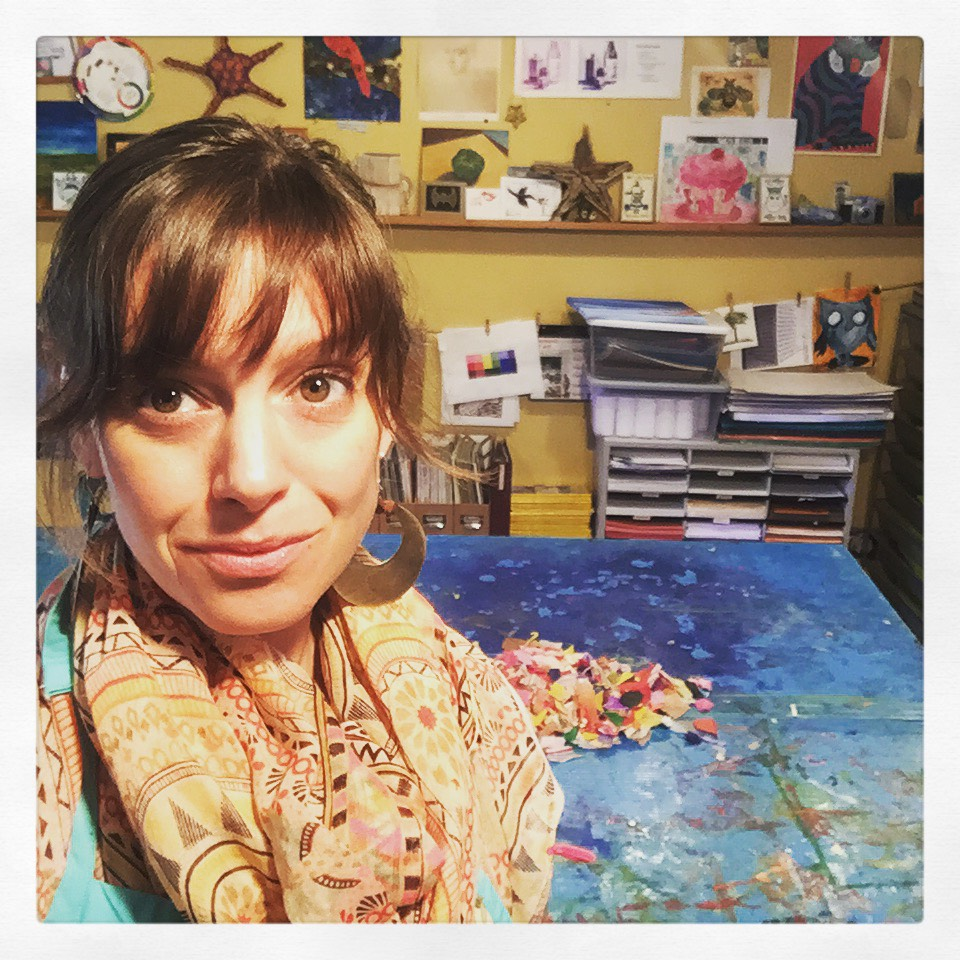Noelle Correia - Noelle has worked for many years in the arts education realm developing a profound relationship with culture, creative expression and child development. She works to convey the beauty and complexities of human nature using texture, pattern, and narrative elements throughout her work. Noelle's work further explores themes such as cross-cultural awareness, women's spirituality, and the botanical world through painting and collage practices. Noelle currently works out of her studio at the Tannery Arts Center and teaches Art for Adolescents at Santa Cruz Montessori school.Website: www.mikoazule.com