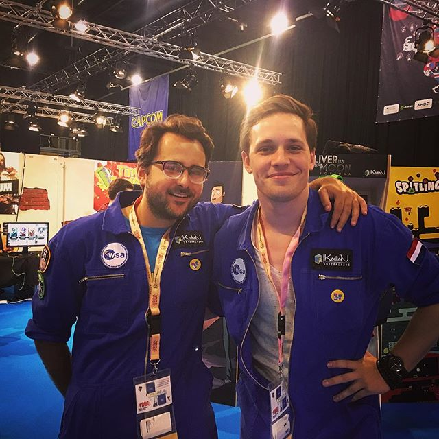 We are at @mag_erfurt, Germany 🇩🇪! Showing @deliverusthemoon at the @indiearenabooth18! Search for the blue suits to find @pauldeetman and @datorkar and they may show you some dance moves?! 🚀 #indiedev #gamedev #game #space #astronaut #celebrate #germany #lafamilia #dutm #erfurt #conference #adventure #travel #moon
