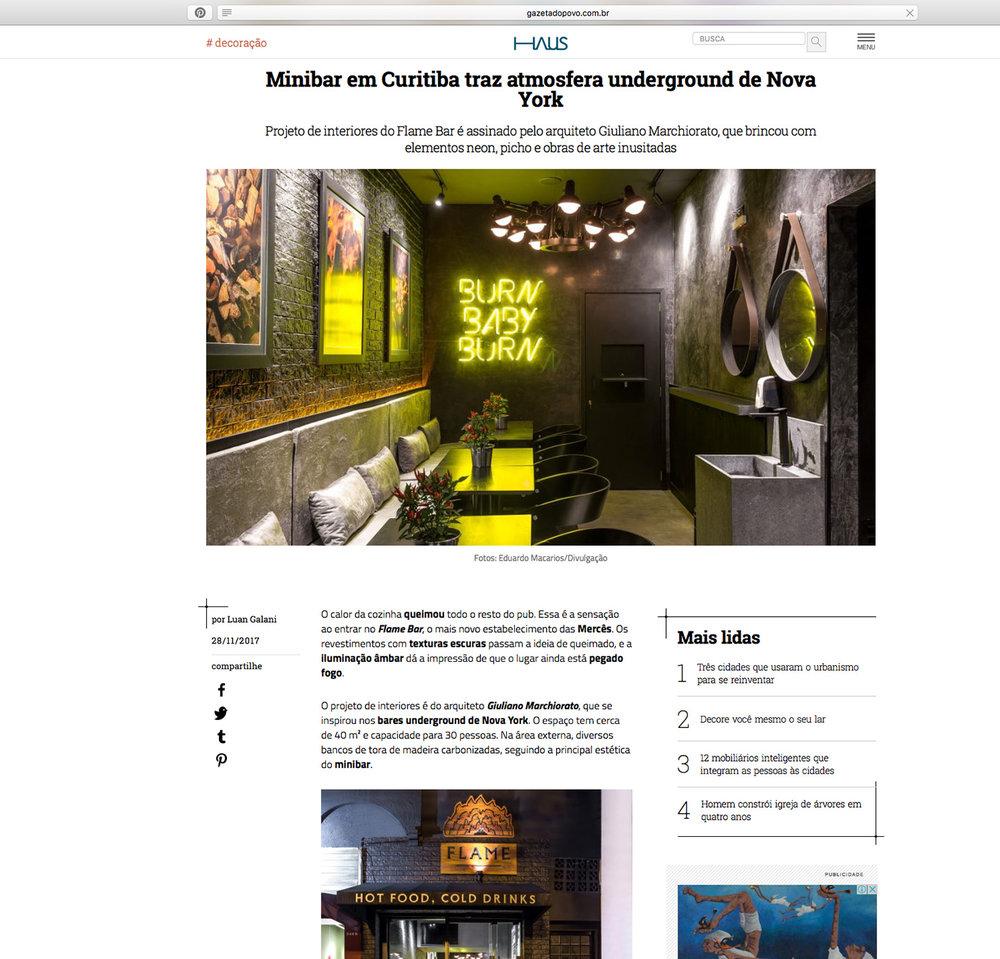Flame Bar  HAUS Gazeta do Povo |  Link