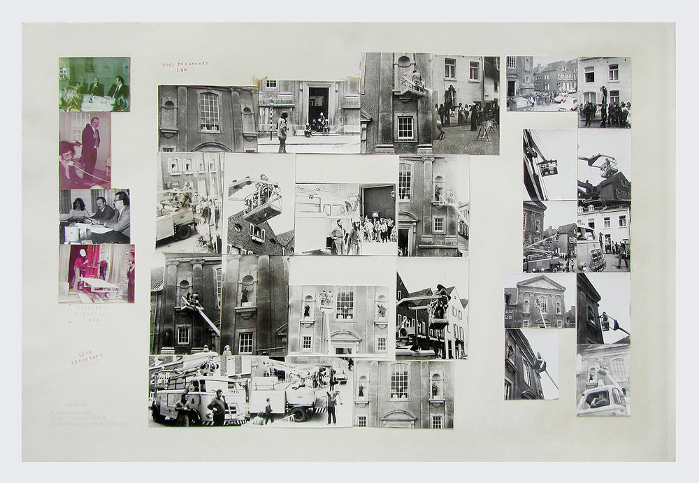 Above:    Body Monuments Inc.  , 1973. 878 x 590 mm.  A unique photographic collage work: 25 silver gelatin prints and 4 colour photographs adhered to board, hand stamped