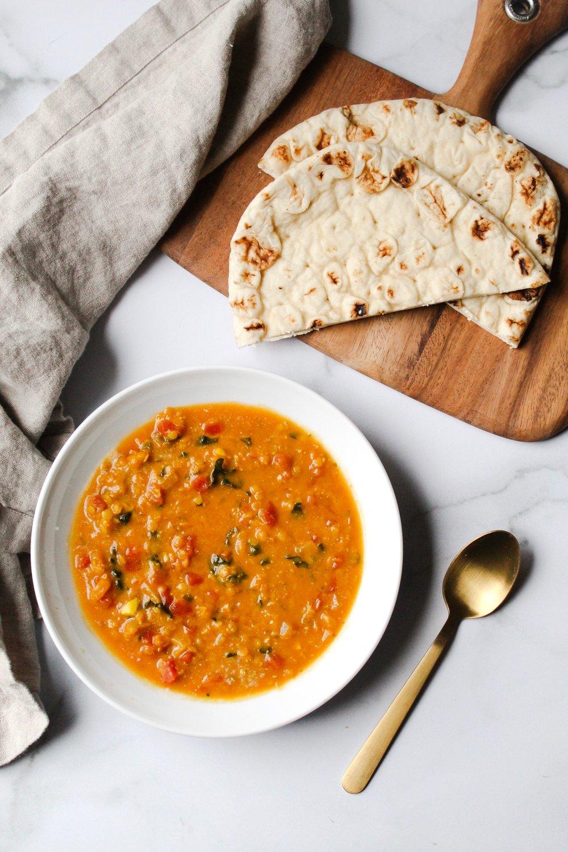 coconut curry lentil soup recipe, plantbased