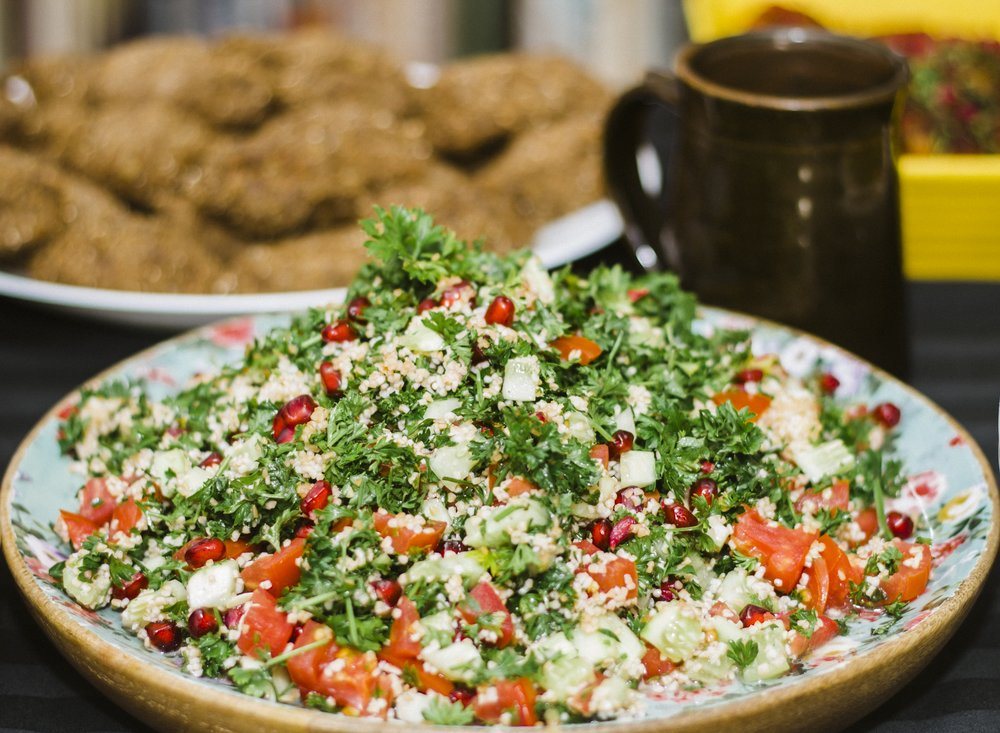 Best Salad ever, Tabbouleh;A Levantine vegetarian dish made of tomatoes, finely chopped parsley, mint, broken wheat and onion, and seasoned with olive oil, lemon juice, and salt , makes for a great side for any dish