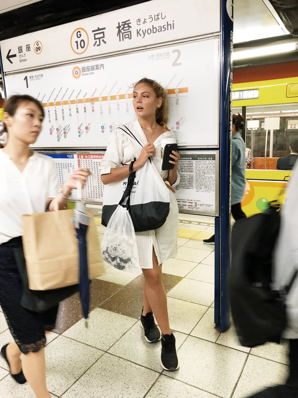 1.the tube - Go everywhere with the subway you guys! The easiest and cheapest way to get around Tokyo is under ground. The system is really easy to understand even if you can't read Japanese. Every station has a letter and a number so it is no problem finding your way.Celeste carries her stuff around town in a Bag-all folding World traveller tote and a Lace bag.