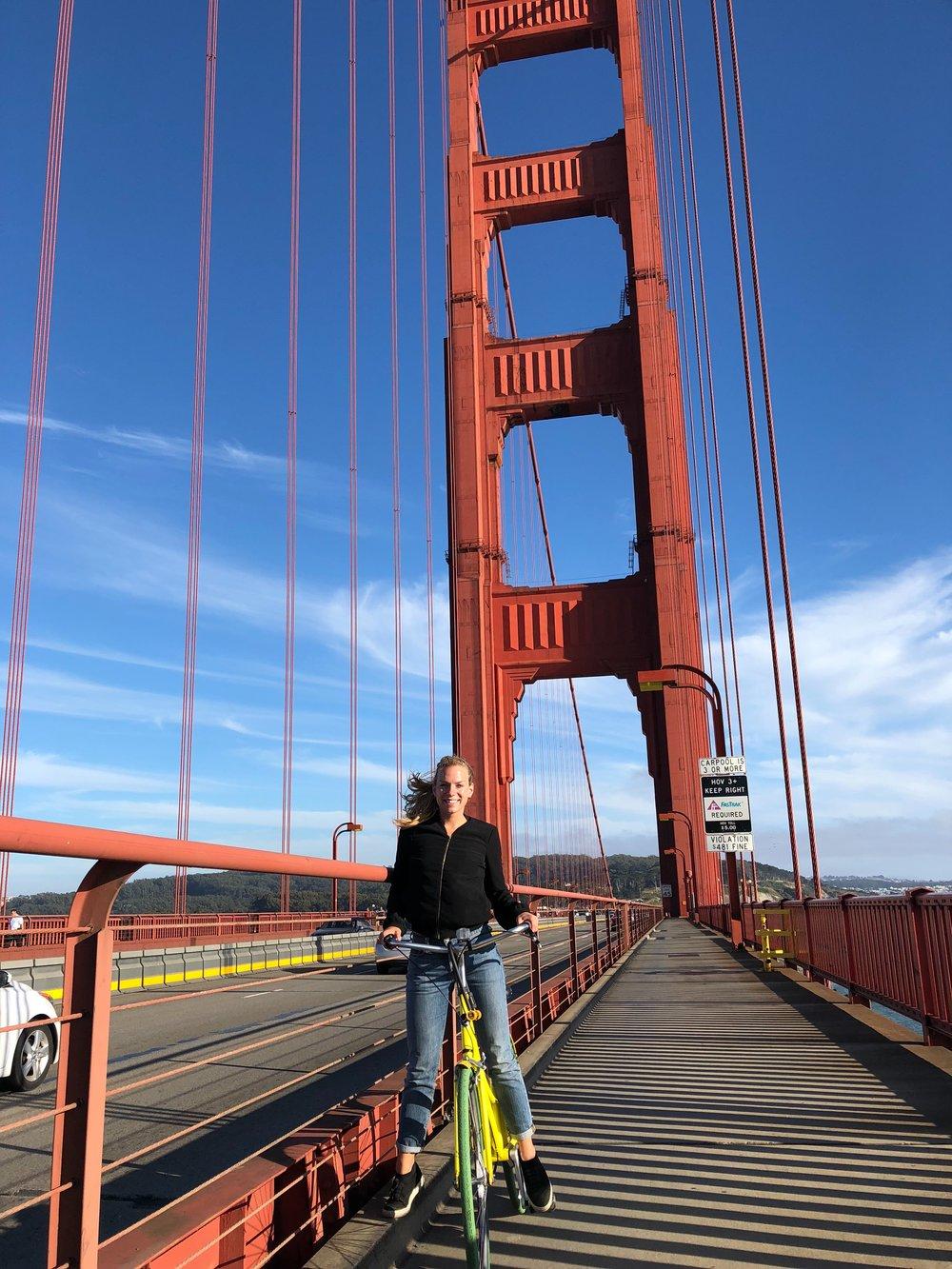 - Biking over the Golden Gate Bridge