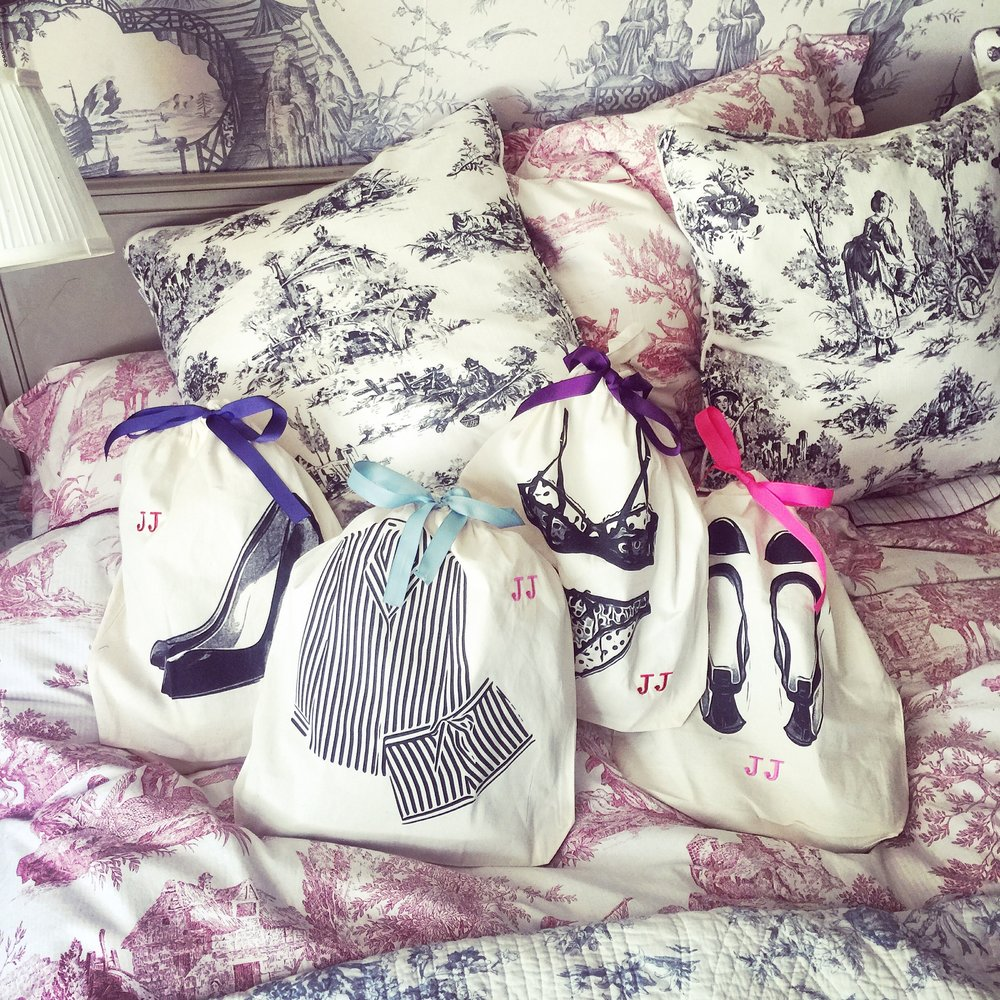 black pump, stripe pajamas, polkadot lingerie, ballet shoe mood bag-all.jpg