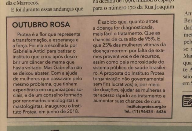 Gabriella Antici é entrevistada para o Jornal A Quadra de São Paulo - Clique na imagem para ler a matéria completa!