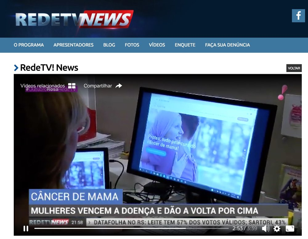 Gabriella Antici é entrevistada pela RedeTV e conta sua história sobre vencer o Câncer de Mama 2x! - Clique aqui para assistir a reportagem completa!