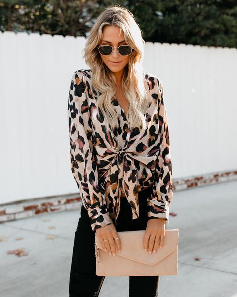 Leopard Print Tie Top VICI