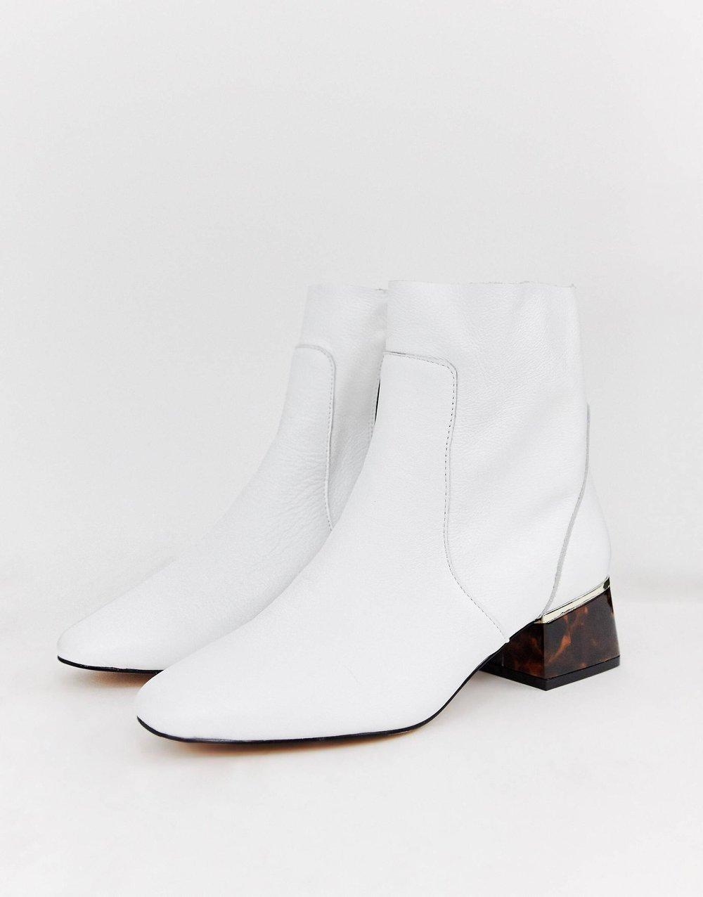 White booties with tortoise heel ASOS
