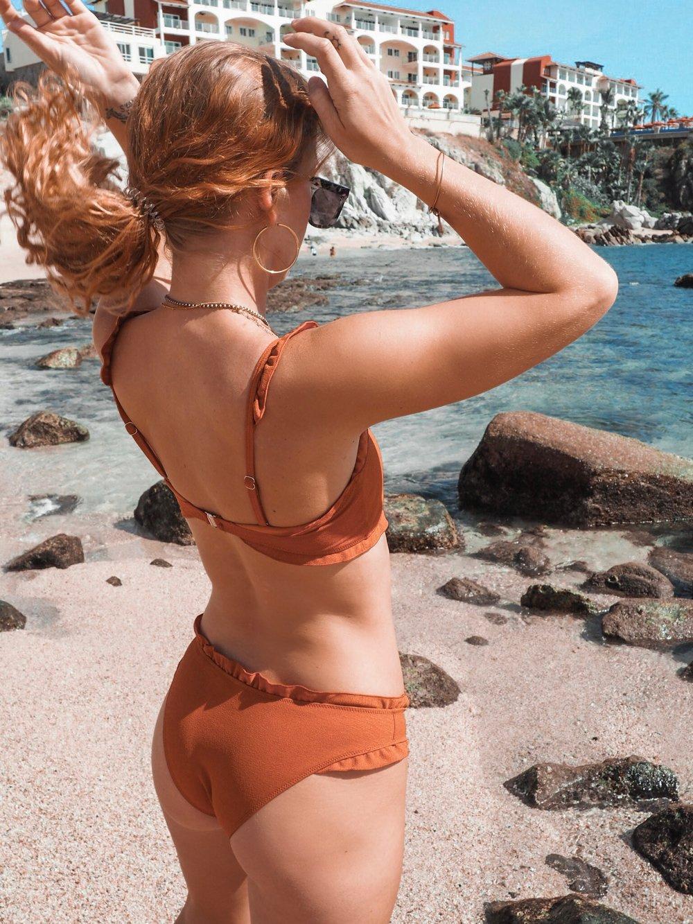 Burnt orange swimsuit