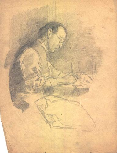 "Portrait of Patrick Koehne at a desk"", Carl Schmitt, pencil on paper, Date unknown"