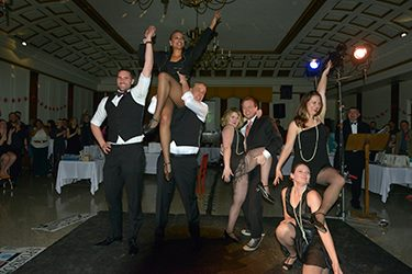 "Kindergarten/First grade teacher, Mr. Jacobi and Gym teacher, Mr. Switzer, joined in the ""All That Jazz"" performance at the Spring Forward Benefit 2016: Made in Chicago. Director: Tamara Drew, Choreographer: Heather Kroski, Photo by Donzell Gordon"