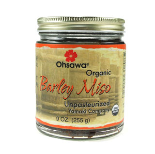 Ohsawa « Yamaki Organic 2-yr Barley Miso 9 oz - In just one teaspoon of miso there are millions of active probiotic microorganisms and enzymes that aide in digestion, strengthen the blood and boost the immune system.