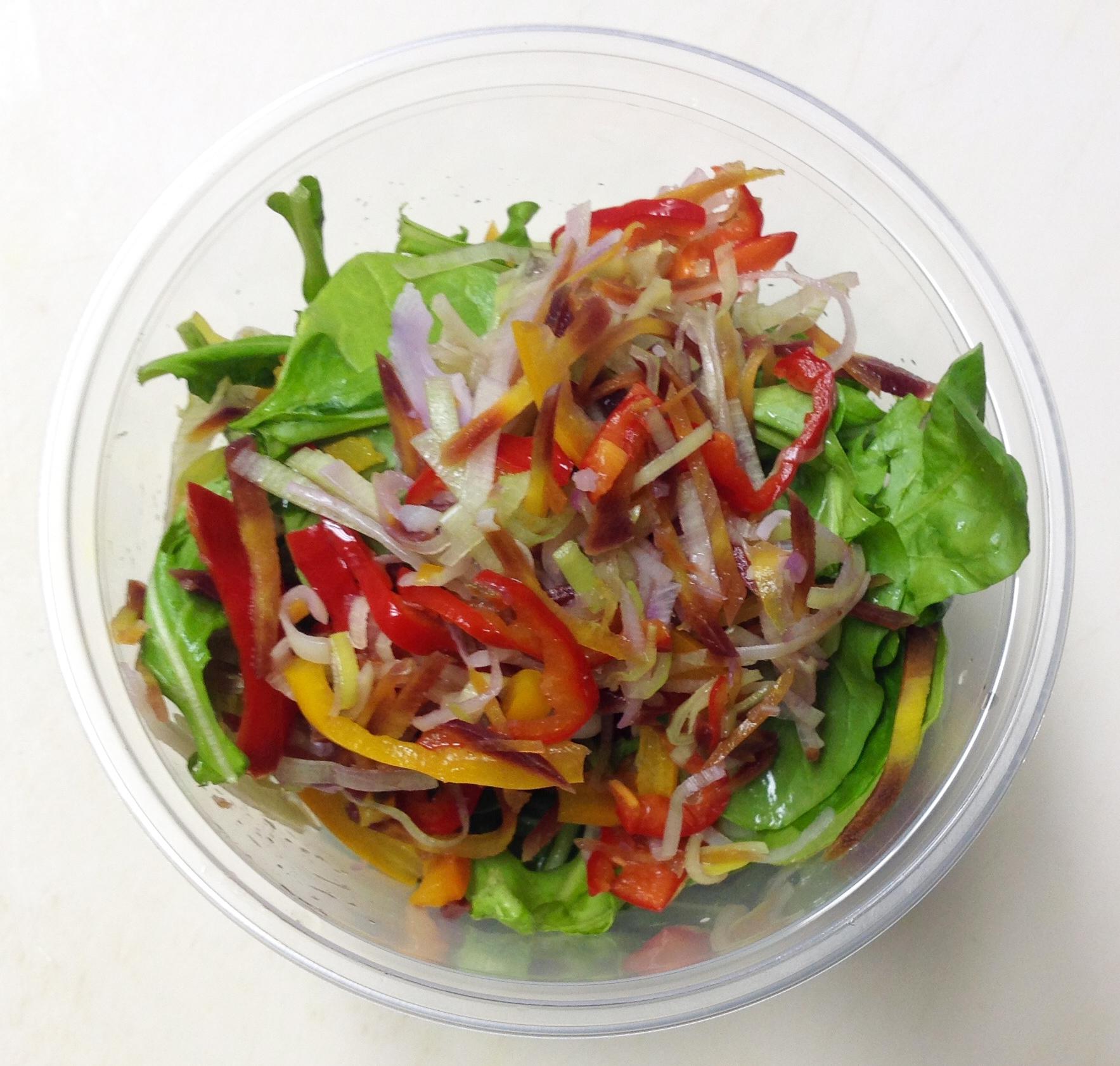 Arugula, blanched veggies