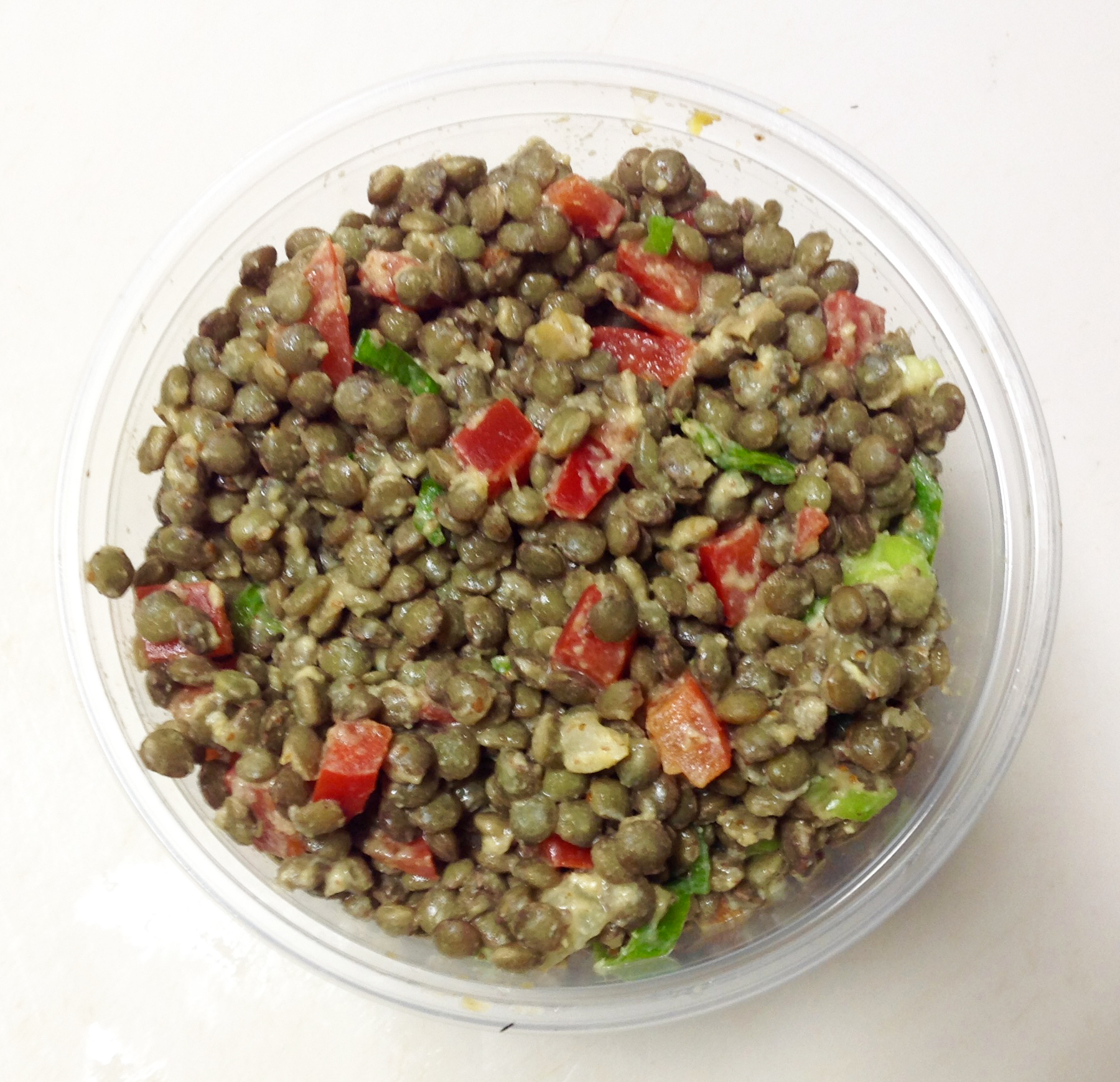 Lentil, bell, mustard, brv, ses oil, parsley