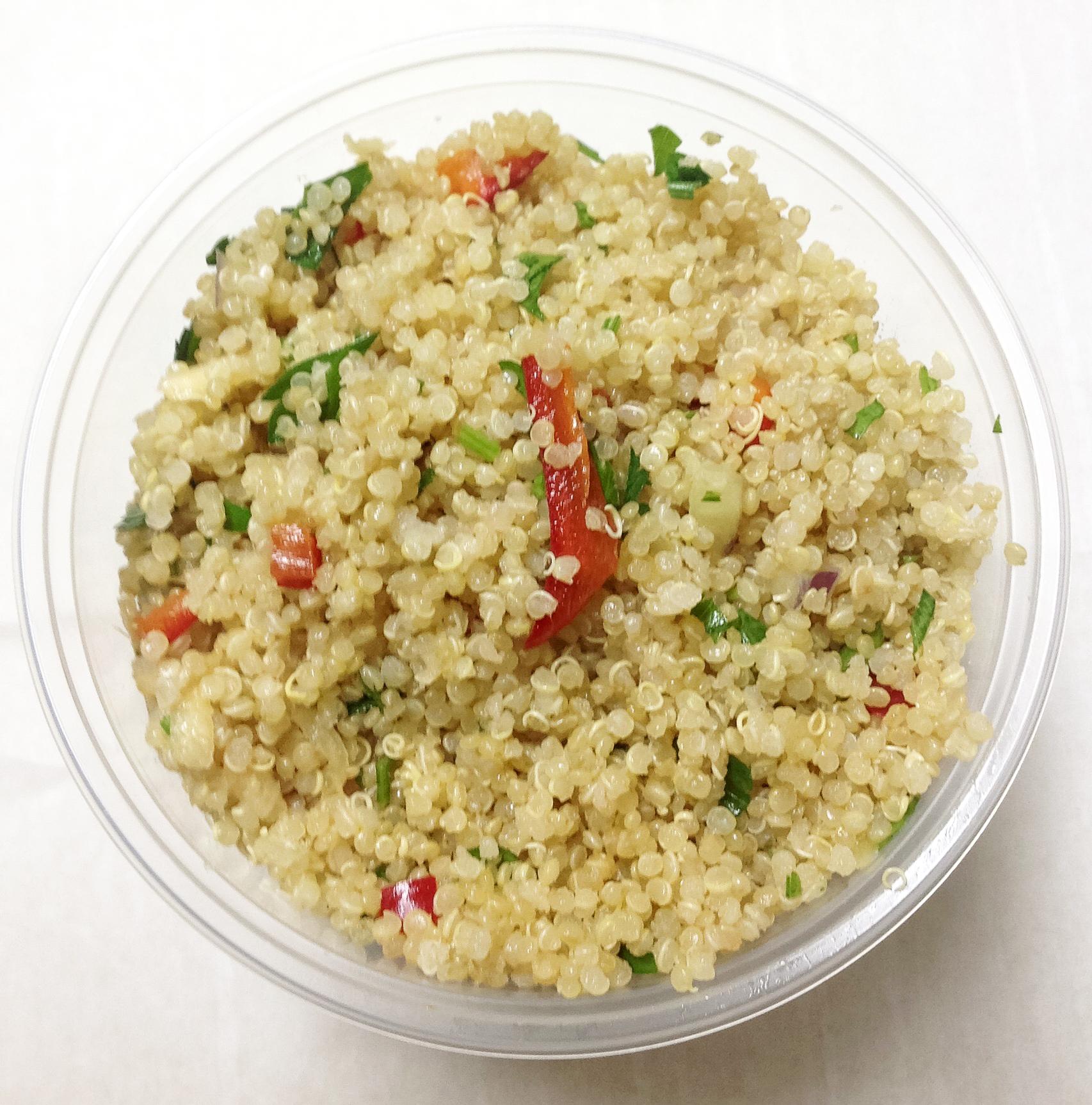 Quinoa, peppers, pick daikon