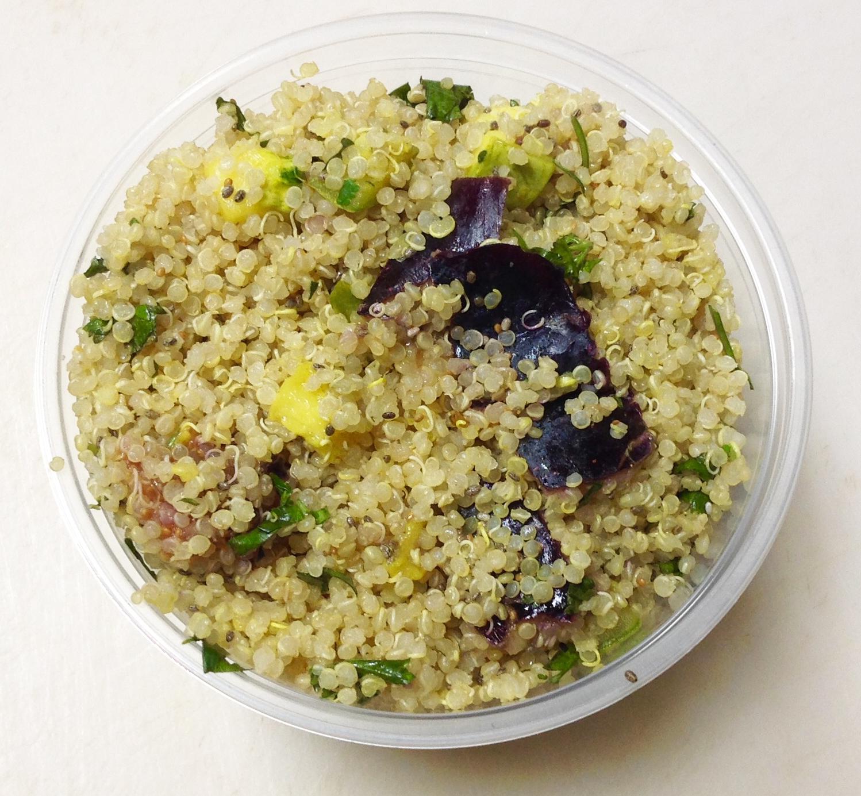 Quinoa, summer squash, figs, acv, oo, salt