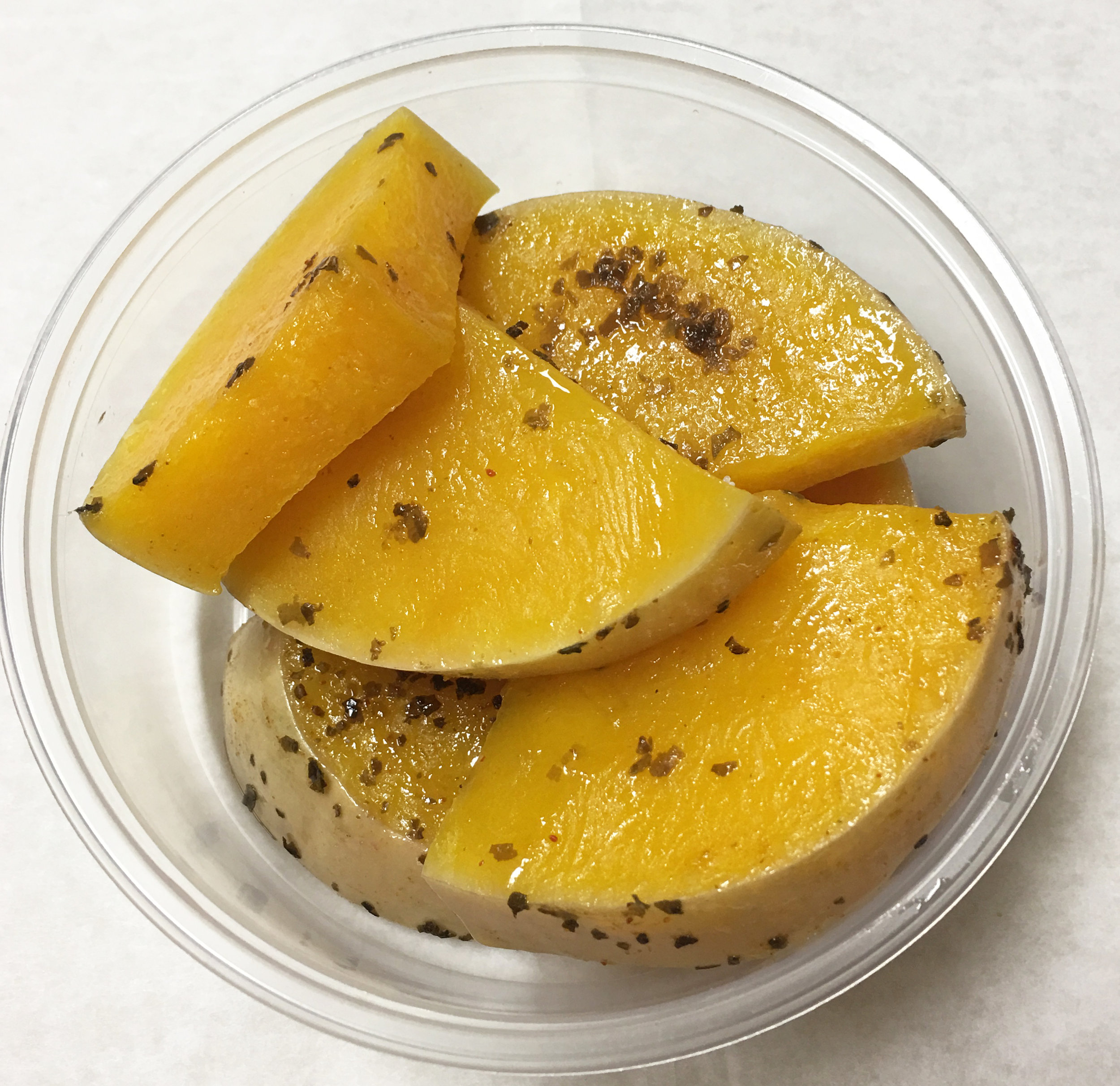 Baked butternut squash with dulse (seaweed) flakes.