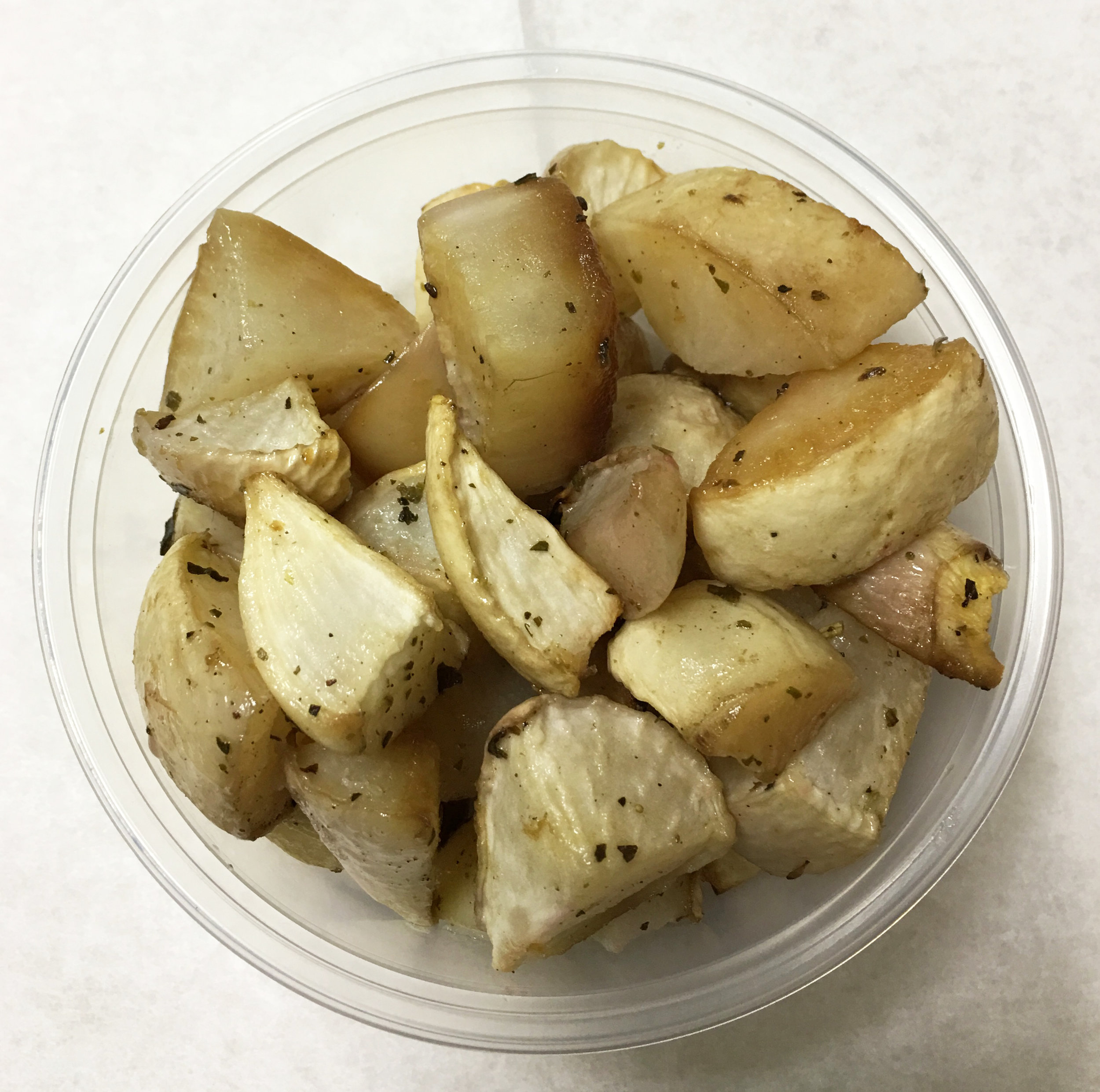 Baked turnips with Italian herbs.
