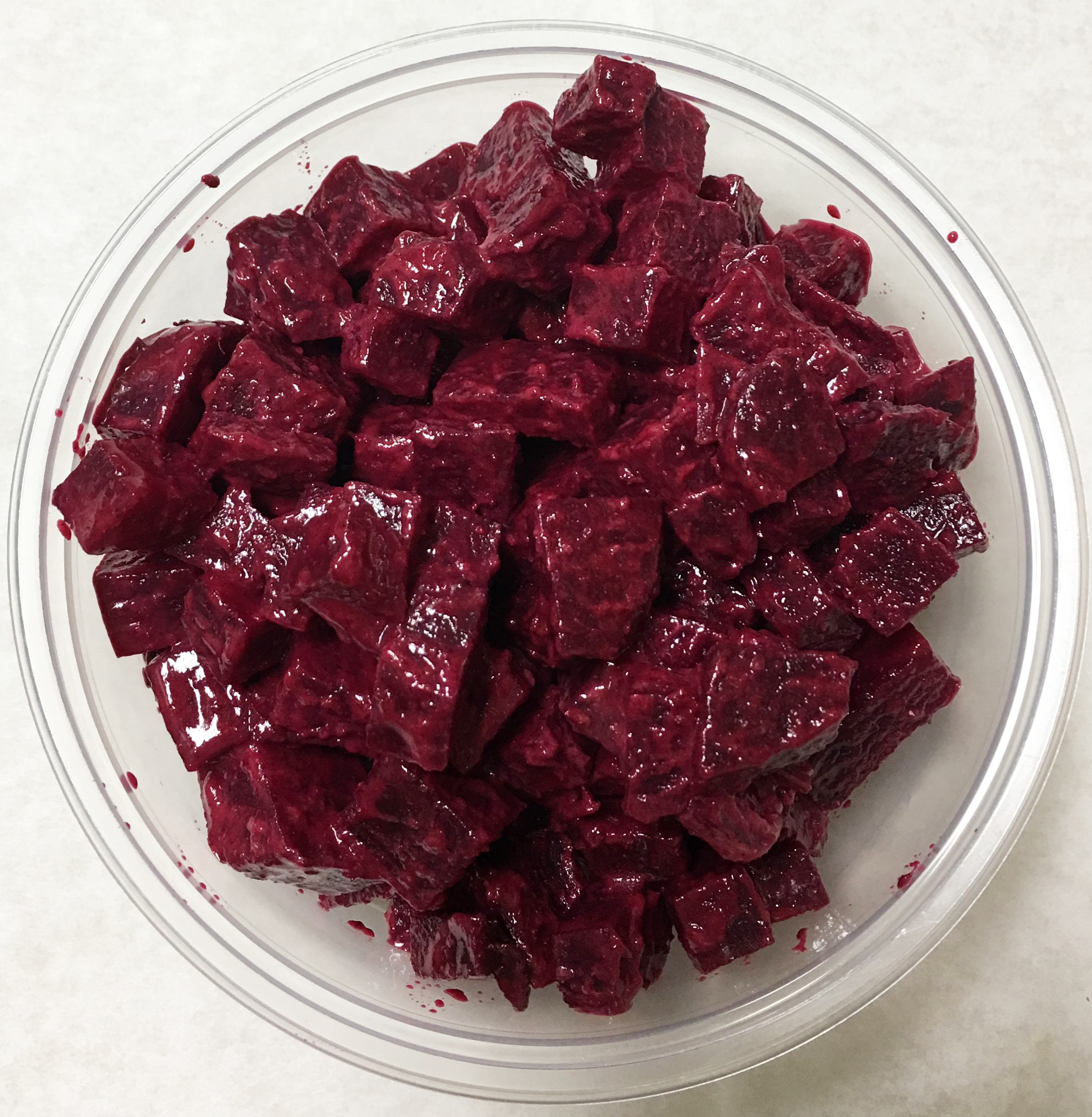 Red beets with a mustard dressing.