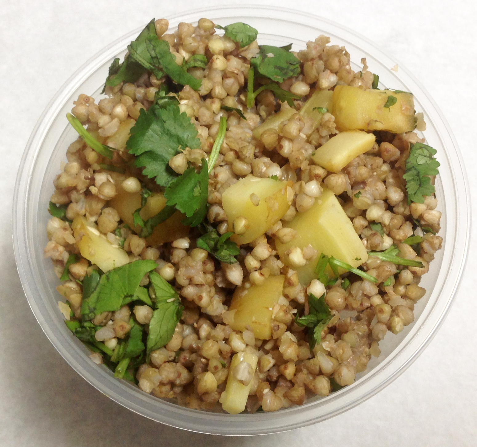 Buckwheat salad with parsnips and cilantro.