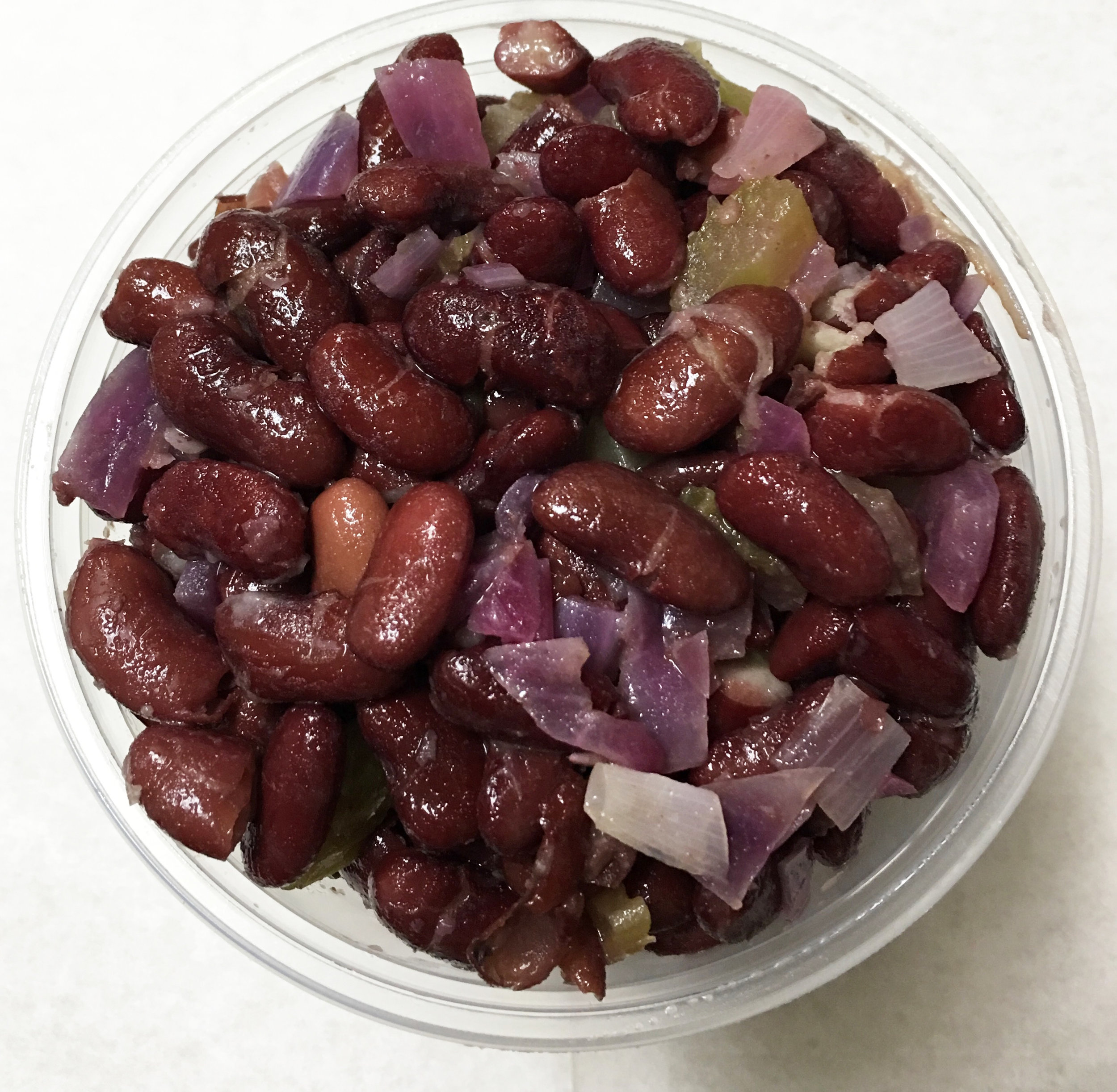 Kidney beans with celery and red onion.