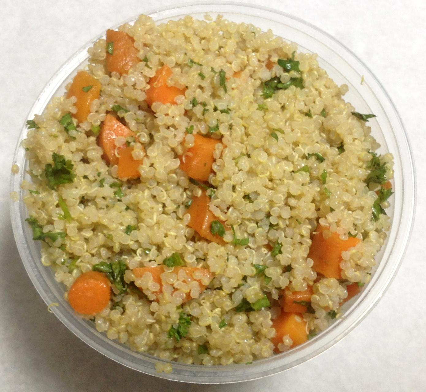 Quinoa, carrots and parsley.