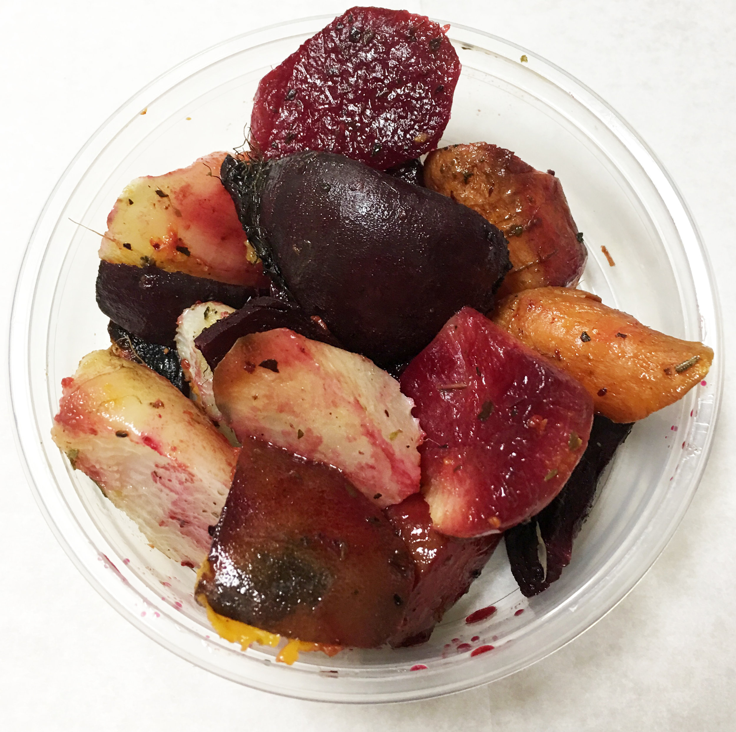 Roasted color heirloom carrots, beets and daikon with Italian seasoning.