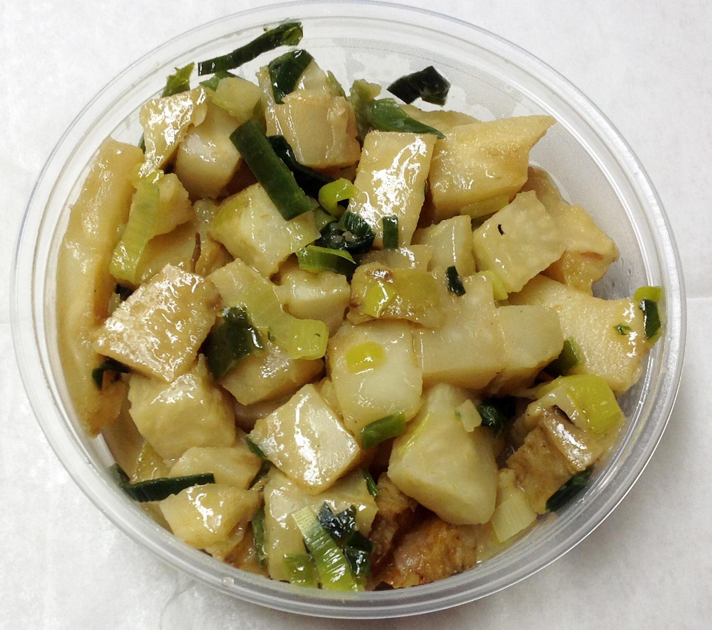 Celery root, leeks and tamari.