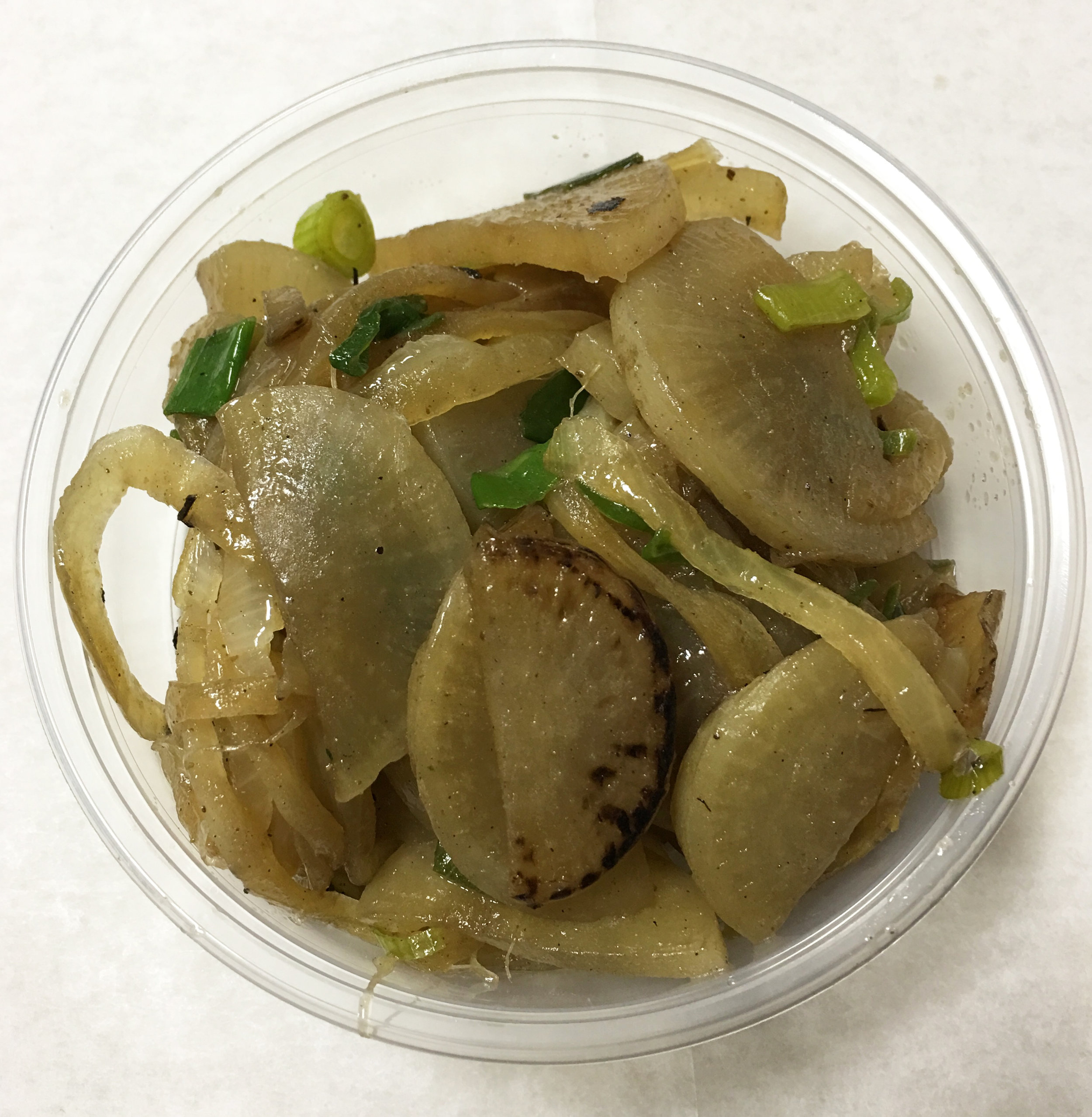 Daikon, onion, garam masala (spice) and scallions.