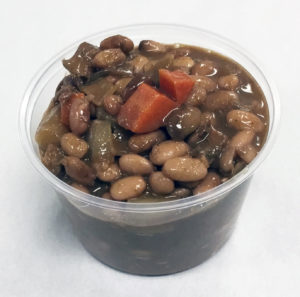 Pinto bean chili with onion, carrot and turnip