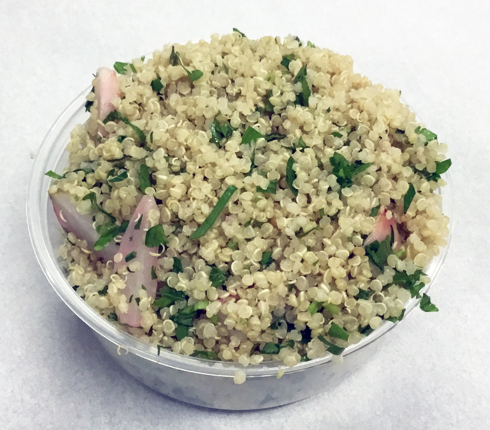 Quinoa with radish, parsley, yuzu and toasted sesame oil.