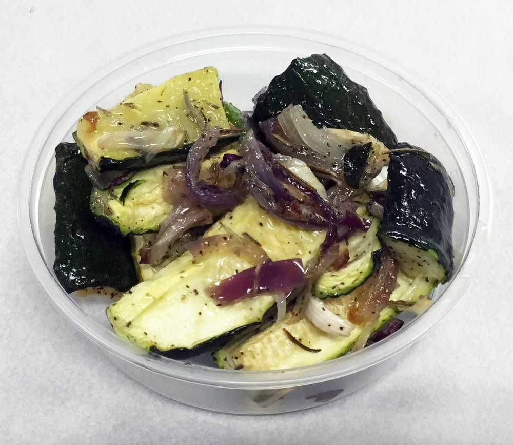 Roasted zucchini, red onion and rosemary.