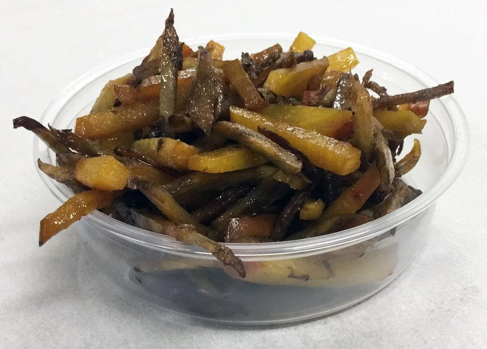 Burdock and golden beet kinpira with tamari.