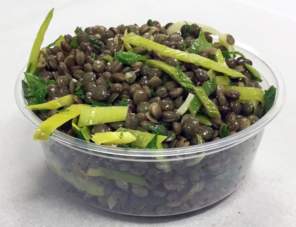 French lentils with leeks, parsley and a yuzu dressing.