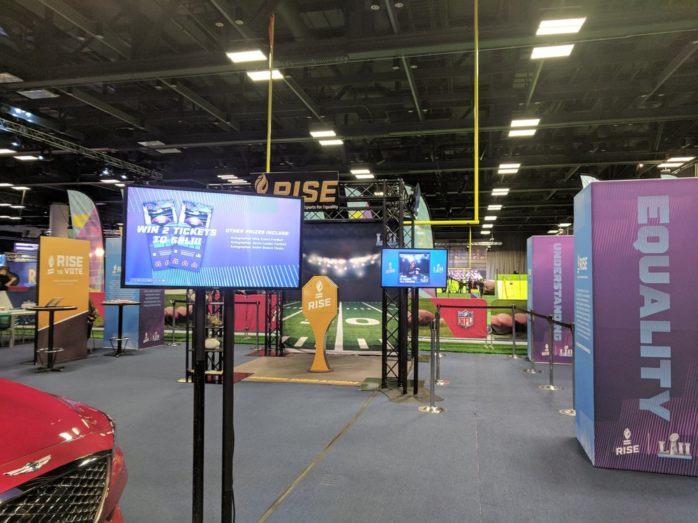 The RISE space at the Super Bowl fan experience.