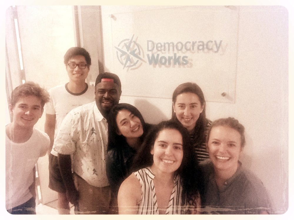 From left to right: Associates Alex, Brian, Prince, Michelle, and Democracy Works staffers Anjelica, Sara, and Emily. Not pictured: Eloise