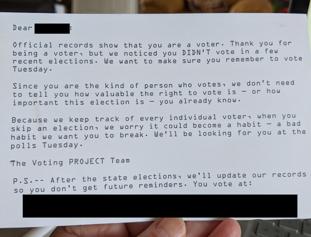 A postcard sent by The Voting Project