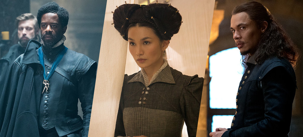 """The Diverse Domain of  Mary, Queen of Scots""  Adrian Lester as Lord Thomas Randolph, Gemma Chan as Bess of Hardwick, Ismael Cruz Cordova as David Rizzio.. Photo: Focus Features"