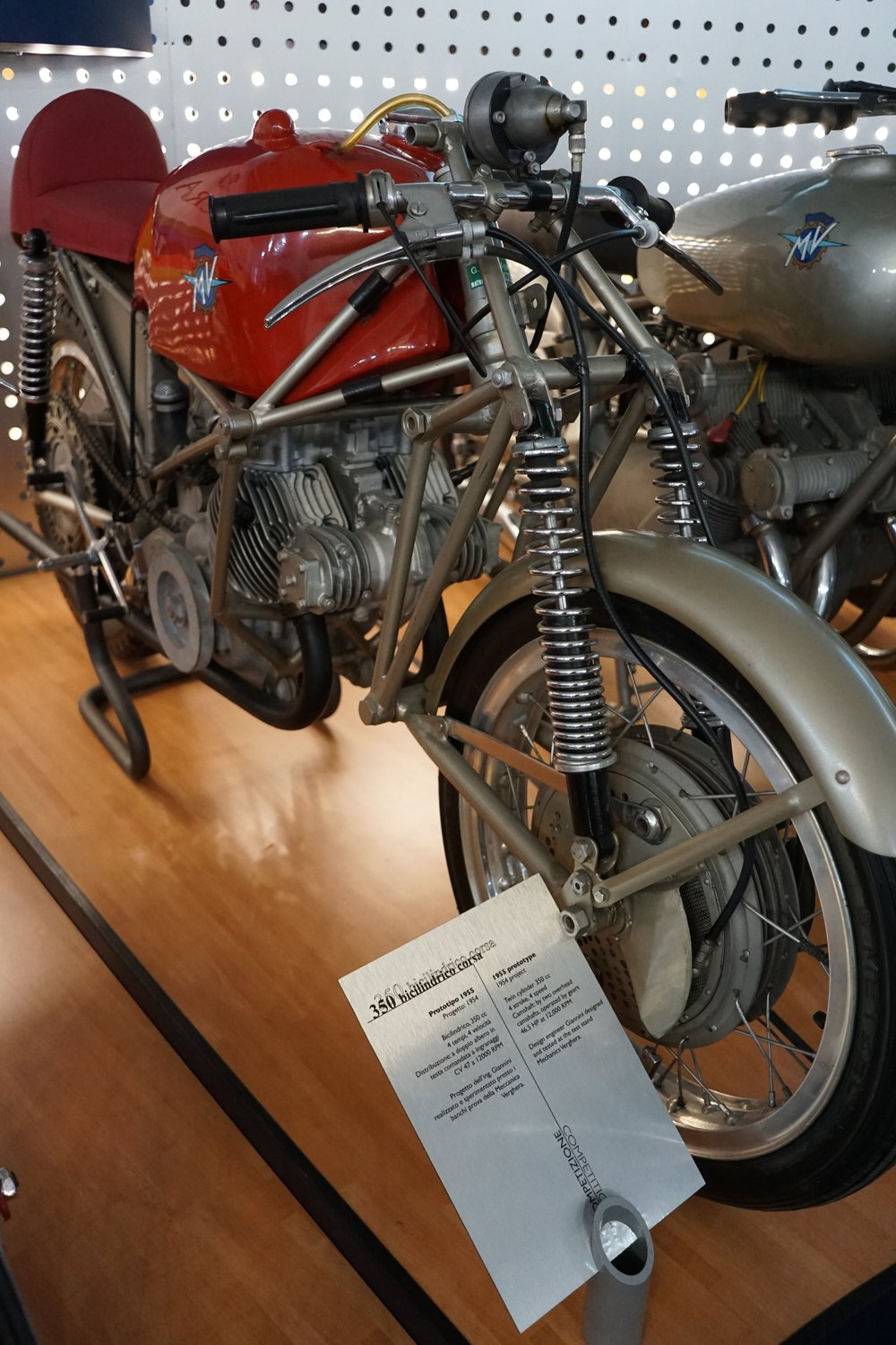 '55 Bicilindrico Corsa Prototype – Fascinating space frame and front suspension. This was a project by an MV engineer named Giannini. The 350cc twin was tested but never raced.